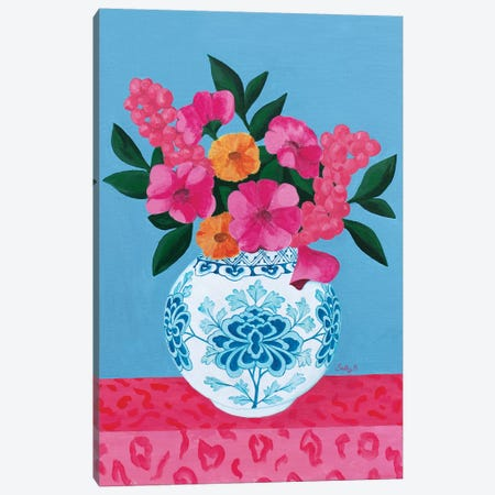 Chinoiserie Vase And Flowers Canvas Print #SLY10} by Sally B Art Print