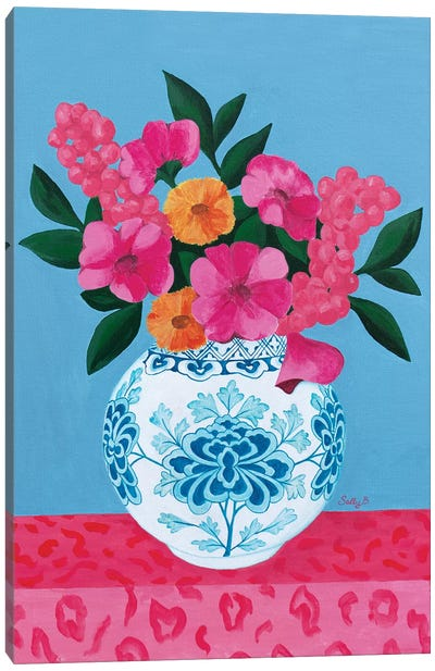 Chinoiserie Vase And Flowers Canvas Art Print
