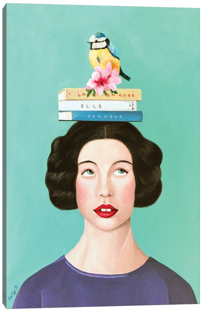 Woman With Books And Bird Canvas Art Print