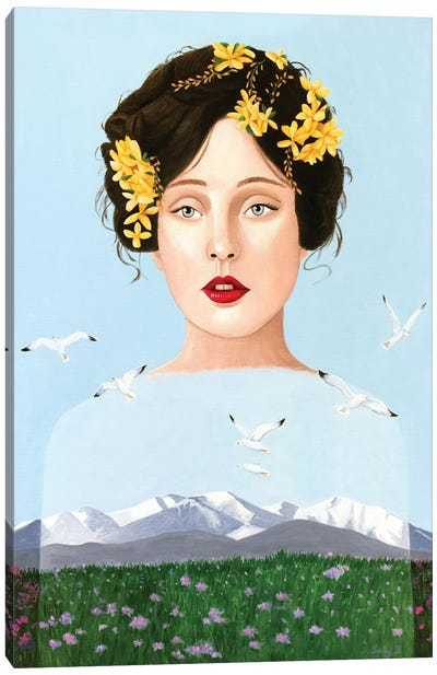Lady Mountain With Seagulls And Flower Field Canvas Art Print