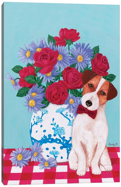 Chinoiserie Vase And Jack Russell Canvas Art Print