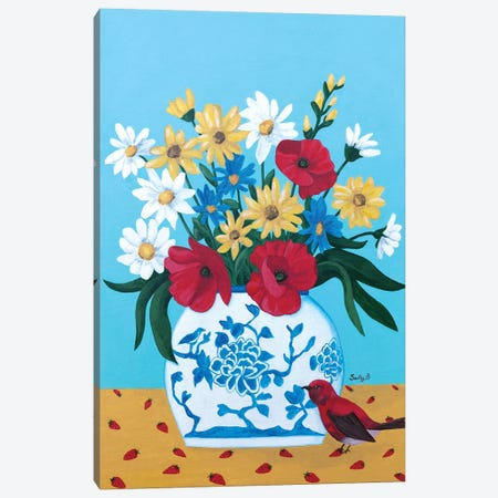 Chinoiserie Vase With Flowers And Bird Canvas Print #SLY12} by Sally B Canvas Art Print