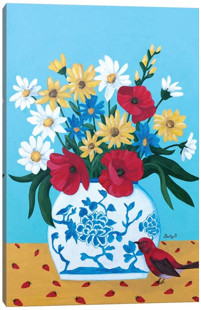 Chinoiserie Vase With Flowers And Bird Canvas Art Print