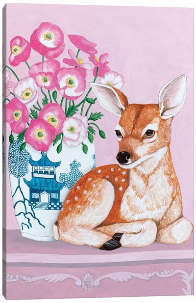 Chinoiserie Vase With Flowers And Deer Canvas Art Print