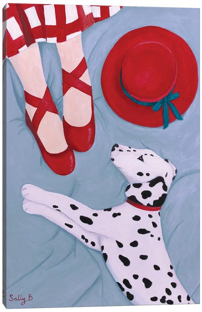 Dalmatian With Red Hat Canvas Art Print