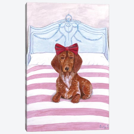 Daschund On Bed Canvas Print #SLY15} by Sally B Canvas Artwork