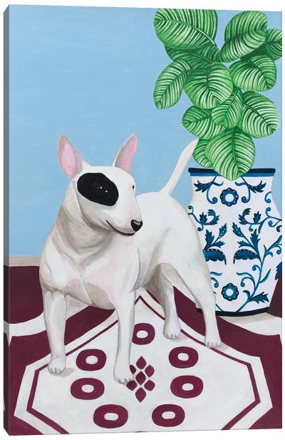 English Bull Terrier With Plant Canvas Art Print