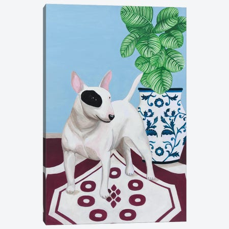 English Bull Terrier With Plant Canvas Print #SLY16} by Sally B Canvas Art