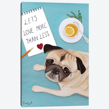 Pug With Lemon Tea Canvas Print #SLY18} by Sally B Canvas Art Print