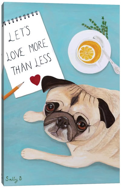 Pug With Lemon Tea Canvas Art Print