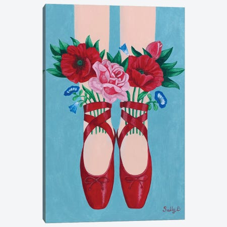 Red Shoes And Flowers Canvas Print #SLY19} by Sally B Canvas Art Print