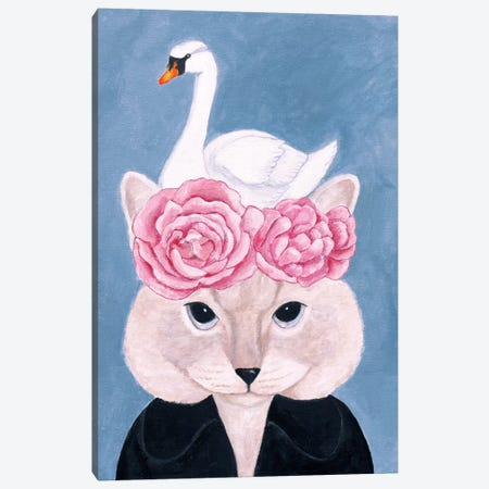 Cat And Swan Canvas Print #SLY1} by Sally B Canvas Art
