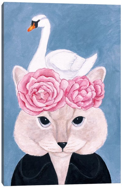 Cat And Swan Canvas Art Print