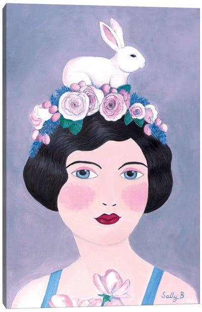 Woman And Rabbit Canvas Art Print