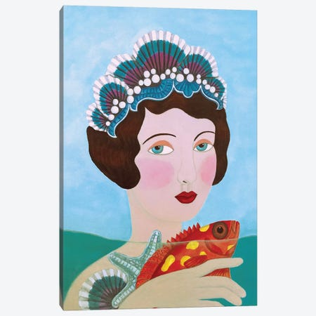 Woman And Seashells 3-Piece Canvas #SLY24} by Sally B Canvas Print