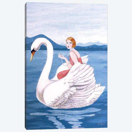 Woman And Swan Canvas Print #SLY26} by Sally B Canvas Art Print