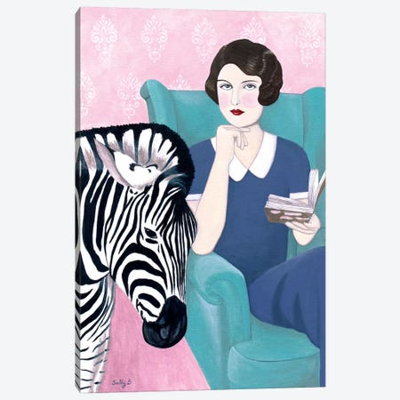 Woman And Zebra Canvas Print #SLY27} by Sally B Canvas Art Print