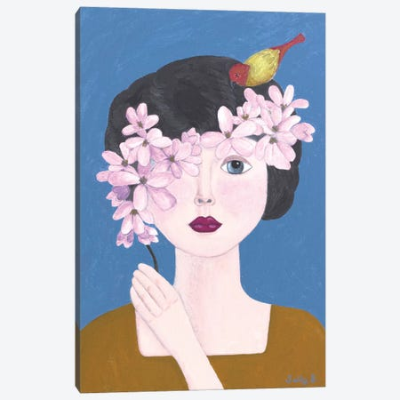 Woman Holding Flowers With Bird Canvas Print #SLY28} by Sally B Canvas Artwork