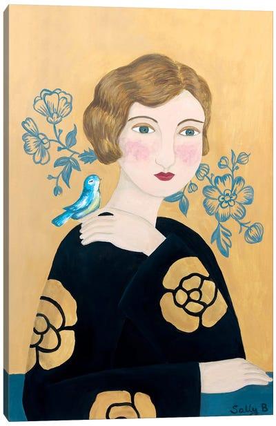 Woman In Black Dress With Bird Canvas Art Print