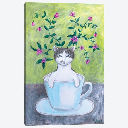 Cat In Cup With Flowers Canvas Print #SLY2} by Sally B Canvas Wall Art