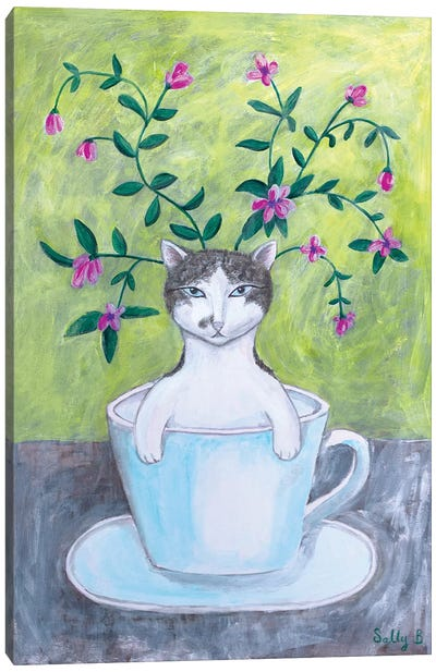Cat In Cup With Flowers Canvas Art Print