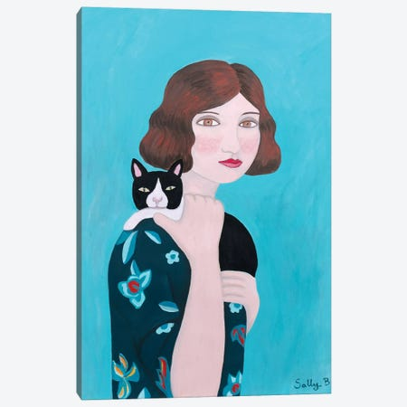 Woman In Floral Blue Dress With Cat Canvas Print #SLY31} by Sally B Canvas Print