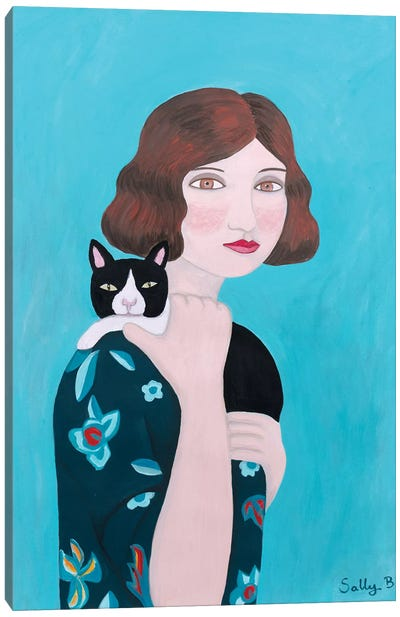 Woman In Floral Blue Dress With Cat Canvas Art Print