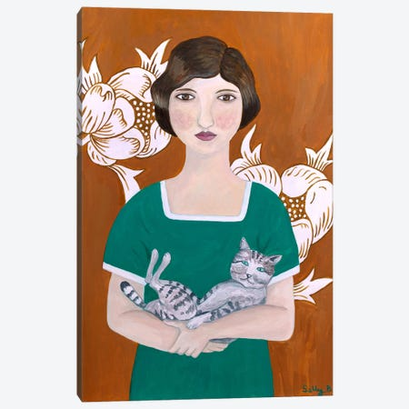 Woman In Green Dress With Cat Canvas Print #SLY32} by Sally B Canvas Art Print