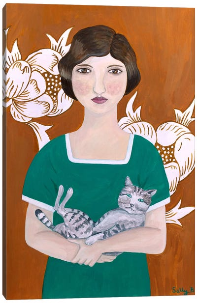 Woman In Green Dress With Cat Canvas Art Print