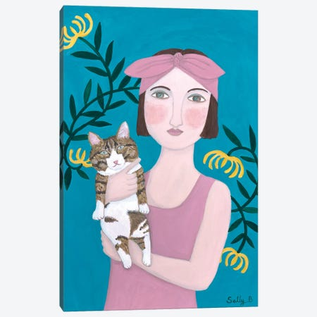 Woman In Pink Dress With Cat Canvas Print #SLY34} by Sally B Canvas Wall Art
