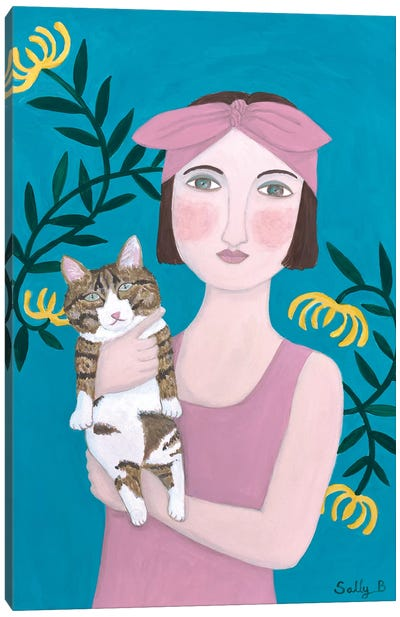 Woman In Pink Dress With Cat Canvas Art Print