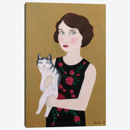 Woman In Rose Dress With Cat Canvas Print #SLY35} by Sally B Canvas Wall Art