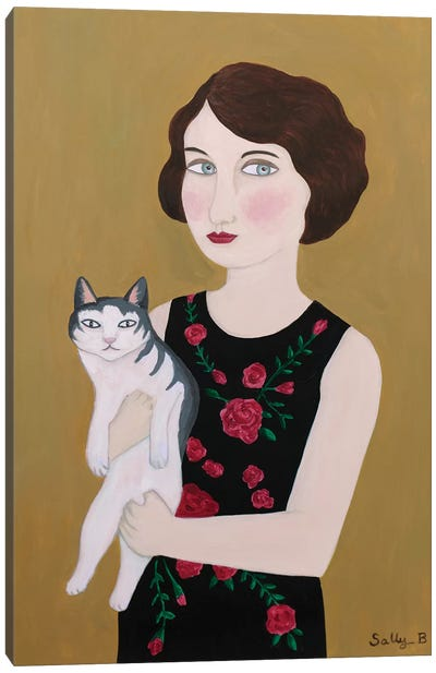Woman In Rose Dress With Cat Canvas Art Print