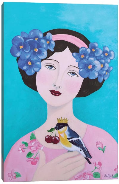 Woman With Bird And Cherry Canvas Art Print