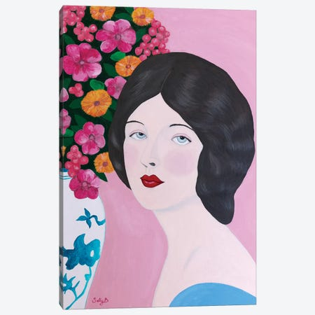 Woman With Chinoiserie Vase And Flowers Canvas Print #SLY37} by Sally B Canvas Wall Art