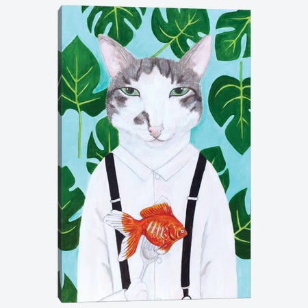 Cat With Goldfish Canvas Print #SLY3} by Sally B Canvas Wall Art