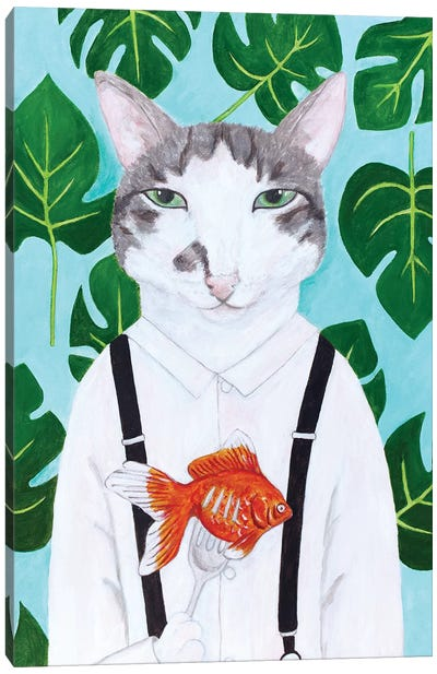 Cat With Goldfish Canvas Art Print