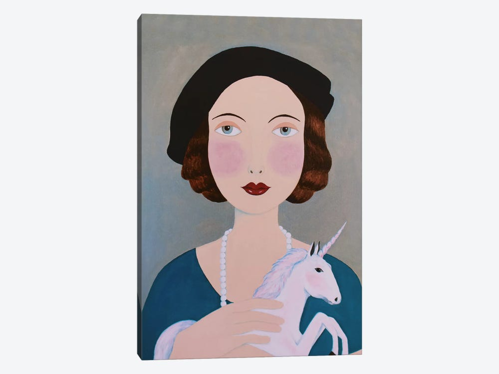 Woman With Unicorn by Sally B 1-piece Canvas Art