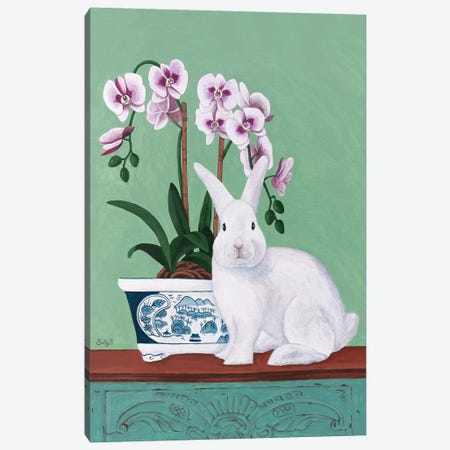 Rabbit And Orchid Canvas Print #SLY41} by Sally B Canvas Artwork