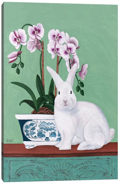 Rabbit And Orchid Canvas Art Print