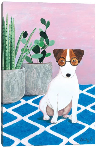 Jack Russell And Plant Canvas Art Print