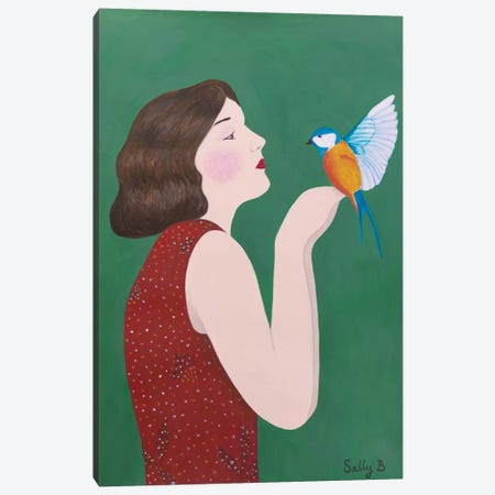 Woman And Bird Canvas Print #SLY43} by Sally B Canvas Art
