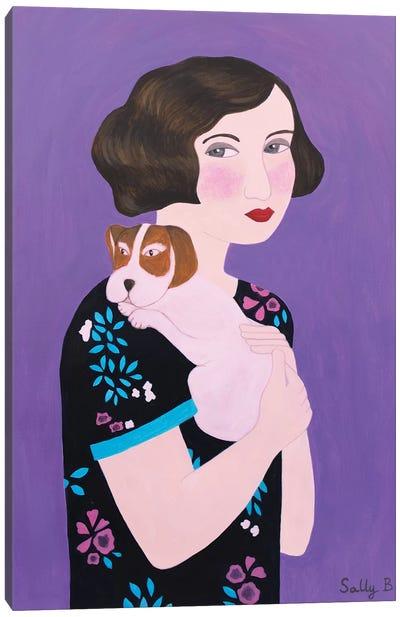 Woman And Cocker Spaniel Canvas Art Print