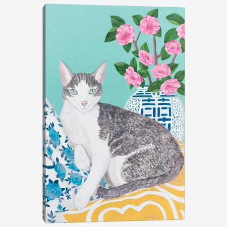 Cat With Cushions And Chinoiserie Vase Canvas Print #SLY45} by Sally B Canvas Print