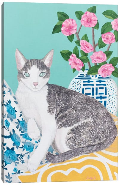 Cat With Cushions And Chinoiserie Vase Canvas Art Print