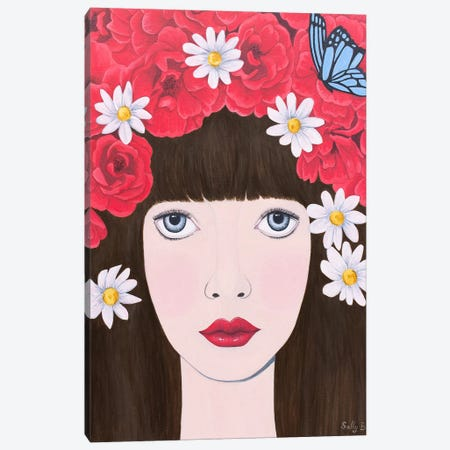 Woman and red flowers on hair Canvas Print #SLY48} by Sally B Canvas Art
