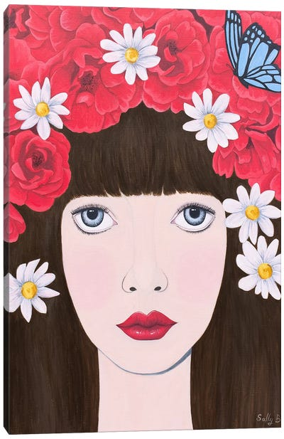 Woman and red flowers on hair Canvas Art Print