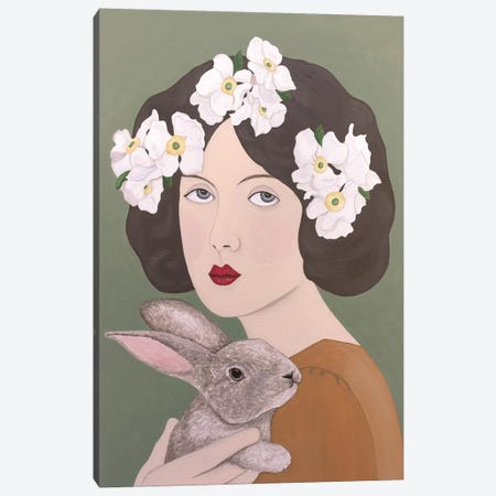 Woman With White Flowers And Rabbit Canvas Print #SLY49} by Sally B Canvas Artwork