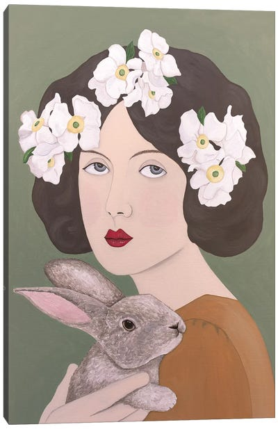 Woman With White Flowers And Rabbit Canvas Art Print