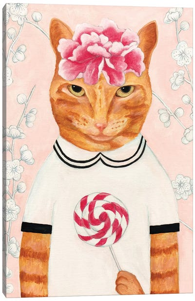 Cat With Lollypop Canvas Art Print